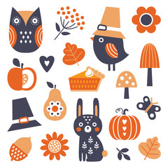 Cute set of vector icons and elements for Fall and Thanksgiving, Scandinavian style, isolated on white. Funny bird in Pilgrim hat, owl, bunny, pumpkin and flowers for decals, stickers, tags and web.