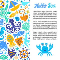 Cutout marine style kids design element paper flyer card. Lettering title Hello Sea. Vector funny cartoon doodle background of fish, shell, calmar, starfish, jellyfish, crab, boat, turtle