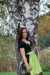 Brunette in German national clothes, Dirndl