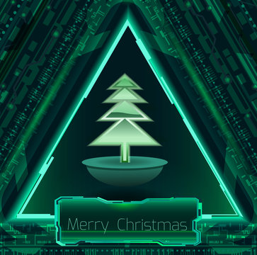 Abstract Christmas banner with tree.