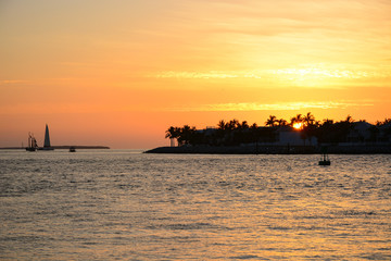 KEY WEST, FL, USA - APRIL 23, 2018: View of sunset from Mallory Square in Key West on the south of Florida