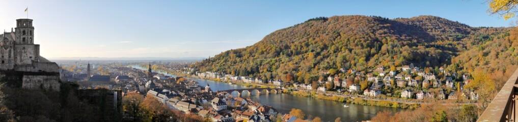 Fotobehang Blauw Panorama Heidelberg