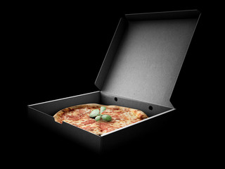 Pizza in a cardboard box against a dark background. Pizza delivery or Pizza menu content. 3d Illustration
