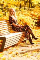 Photo of blonde sitting on wooden bench in autumn park