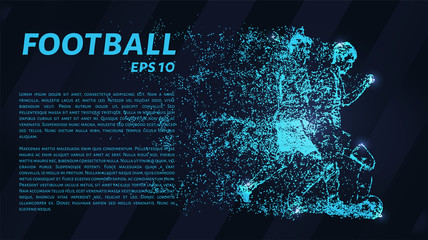 Football of blue glowing dots.