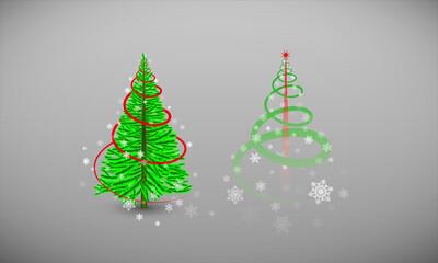 2 versions de sapin de noël, vert réaliste et design aux couleurs facilement modifiables