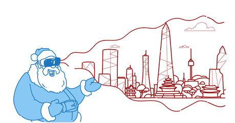 santa wear digital glasses virtual reality modern city skyscraper panorama view cityscape background vr vision headset concept flat horizontal