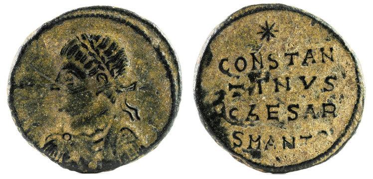 Ancient Roman copper coin of Emperor Constantine II.
