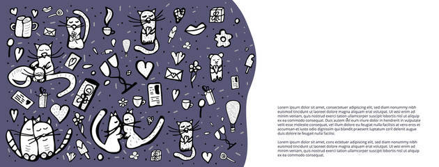 Doodle set with cute love symbols. Vector illustration.