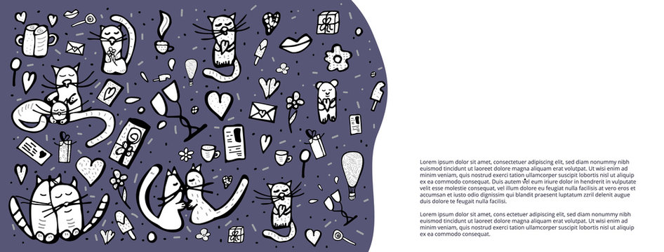Doodle set with cute love symbols. Vector illustration.