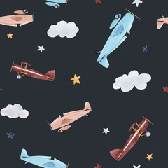 Fototapete - Watercolor aircraft baby pattern