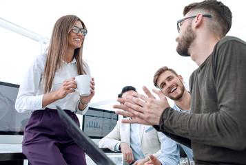 successful business team talks during a break.