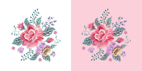 Embroidery floral native pattern with roses, pansies and forget me not flowers. Vector embroidered patch with flowers for wearing design.