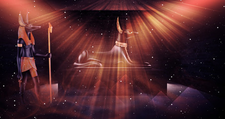 Anubis of Ancient Egypt (God of Death). Dark abstract Egyptian background, dark room with smoke, sparks from lights, rays of light. 3D rendering