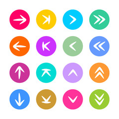 Arrow sign icon set in flat style. Vector elements of hand drawing arrows on color circle shapes