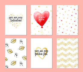 Set of cards for valentine's day. Hand drawn February 14 posters. Greeting vector card for Valentine's Day with lettering. Pattern with color hearts Gold elements.