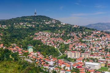 beautiful aerial view of Sarajevo, capital city of Bosnia and Herzegovina