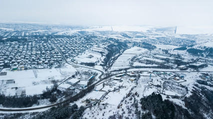 Winter Aerial view over the small village.