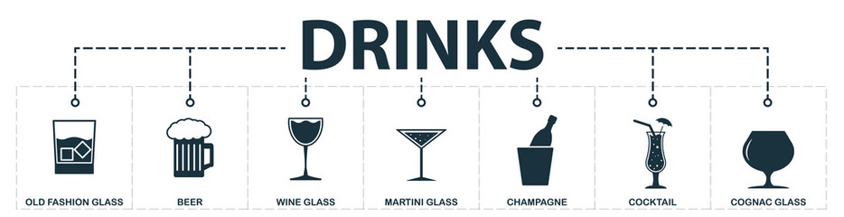 Drinks set icons collection. Includes simple elements such as glass, whiskey glass, beer, wine glass, martini, cognac glass, champagne premium icons