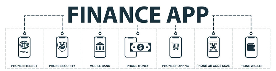 Finance App set icons collection. Includes simple elements such as Phone Internet, Phone Contacts Security, Mobile Bank, Phone Money, Shopping, Qr Code Scan and Phone Wallet premium icons