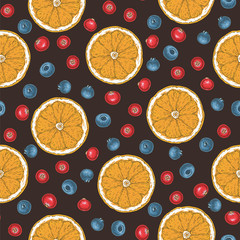 Seamless Pattern. Orange and Berries