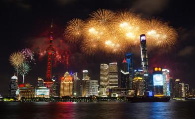 Türaufkleber Asiatische Länder Shanghai fireworks cityscape