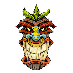 tiki head with clenched teeth