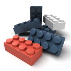Plastic blocks red blue close up