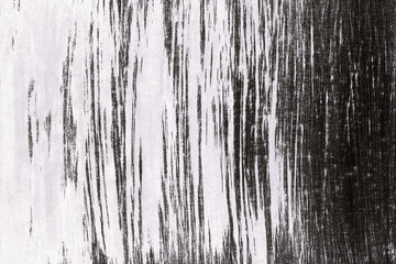 Black with grey ink texture with abstract washes and brush strokes on white watercolor paper background.