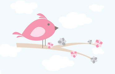 Whimsical cartoon bird on a branch with sky backdrop