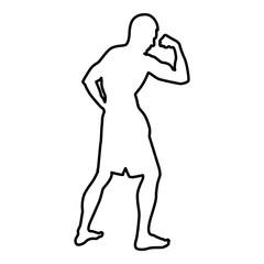 Bodybuilder showing biceps muscles Bodybuilding sport concept silhouette side view icon black color illustration  outline