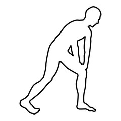 Man doing exercises for warm up Sport action male Workout silhouette before you run side view icon black color illustration  outline