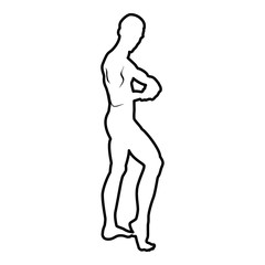 Posing bodybuilder silhouette Bodybuilding concept icon black color illustration  outline