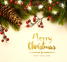Art Christmas tree light; Christmas Background With  Fir Branch