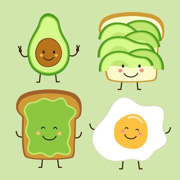 Cute hand drawn cartoon characters of avocado, toast and egg