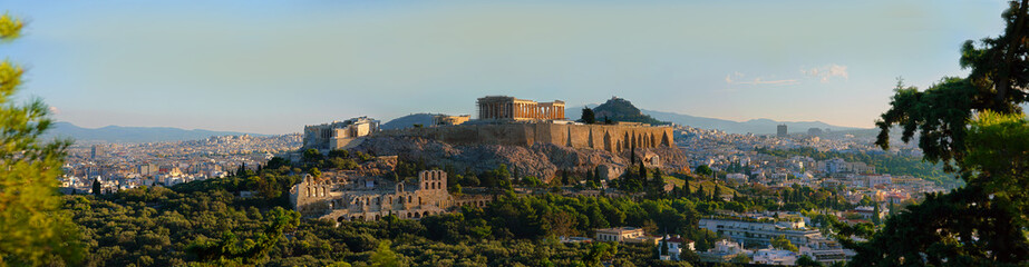 Panoramic view of Athens with Parthenon at sunrise