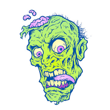 Zombie Head with leaking brains