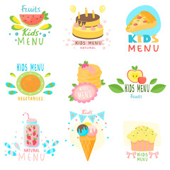 Set of stickers of natural children s menu with colorful images of natural fruits, sweets, ice cream, children s delicious drinks.