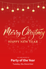 Christmas party poster template. Winter holiday design with shiny gold Xmas garland . Christmas card..