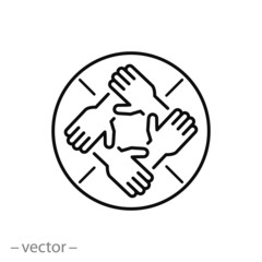 hands support each other, concept of teamwork, icon, linear sign on white background - editable vector illustration eps10