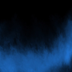 Blue fog and mist effect on black stage studio showcase room background.