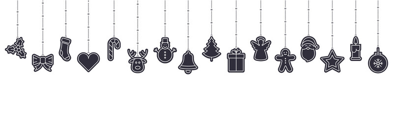 christmas ornament icon elements hanging isolated background