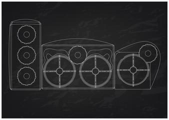 3d model of speaker system on a black