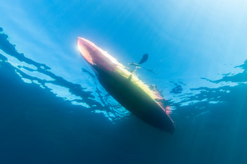 Underwater view of kayak moving in Lake Tahoe