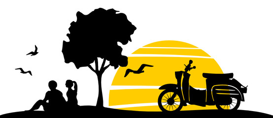 Sunset Retro East Germany Scooter Wall mural