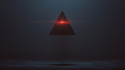Futuristic Abstract Alien Pyramid AI Super Computer Droid with Glowing Lens Flare 3d illustration 3d render  Wall mural