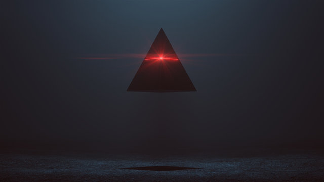 Futuristic Abstract Alien Pyramid AI Super Computer Droid with Glowing Lens Flare 3d illustration 3d render