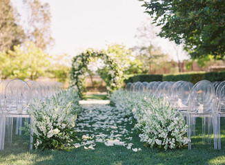 Wedding ceremony with a pathway and gazebo