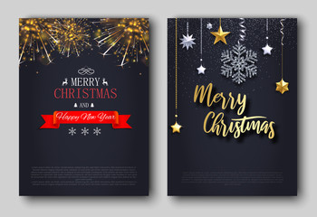 Merry Christmas and Happy New Year greeting cards with snowflake and fireworks.