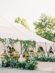 Wedding reception under a tent